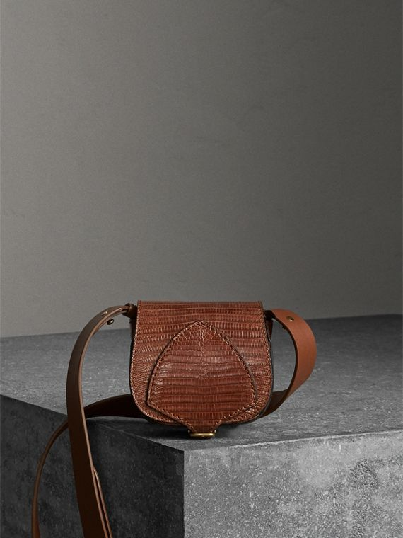 The Pocket Satchel in Lizard in Chestnut Brown
