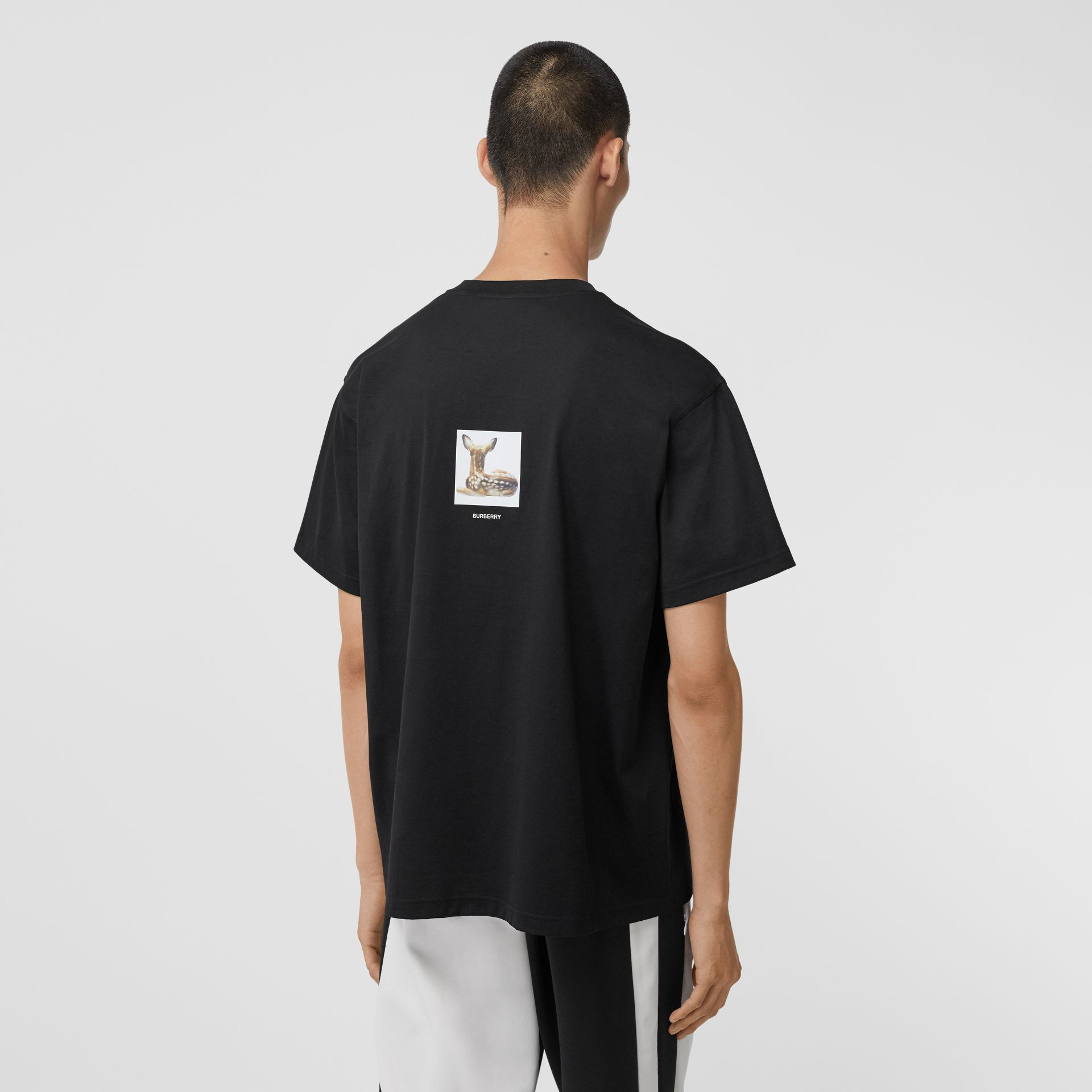 Deer Print Cotton Oversized T-shirt in Black - Men | Burberry - gallery image 2