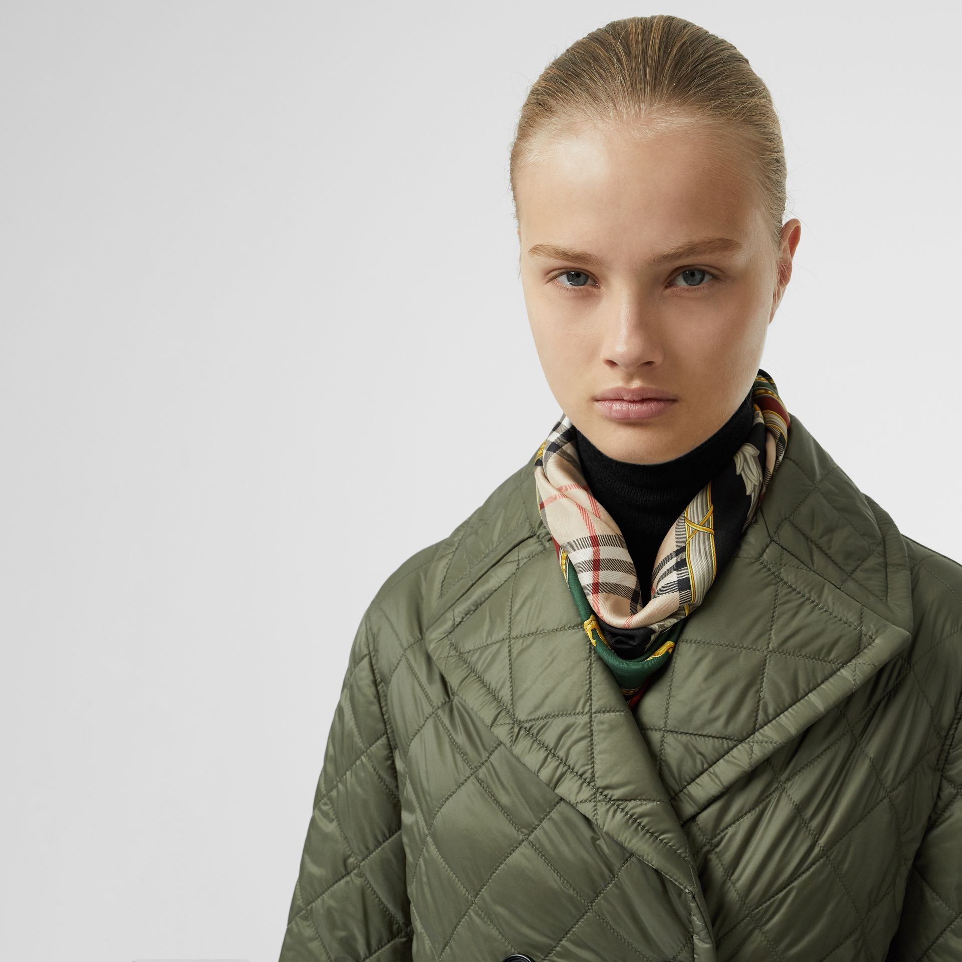Lightweight Diamond Quilted Coat in Cadet Green - Women | Burberry United Kingdom - gallery image 1