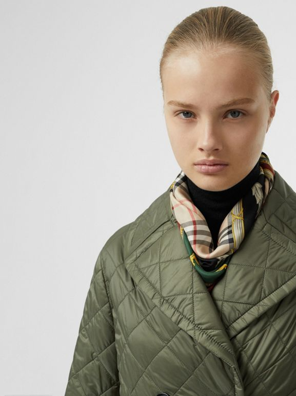 Lightweight Diamond Quilted Coat in Cadet Green - Women | Burberry - cell image 1