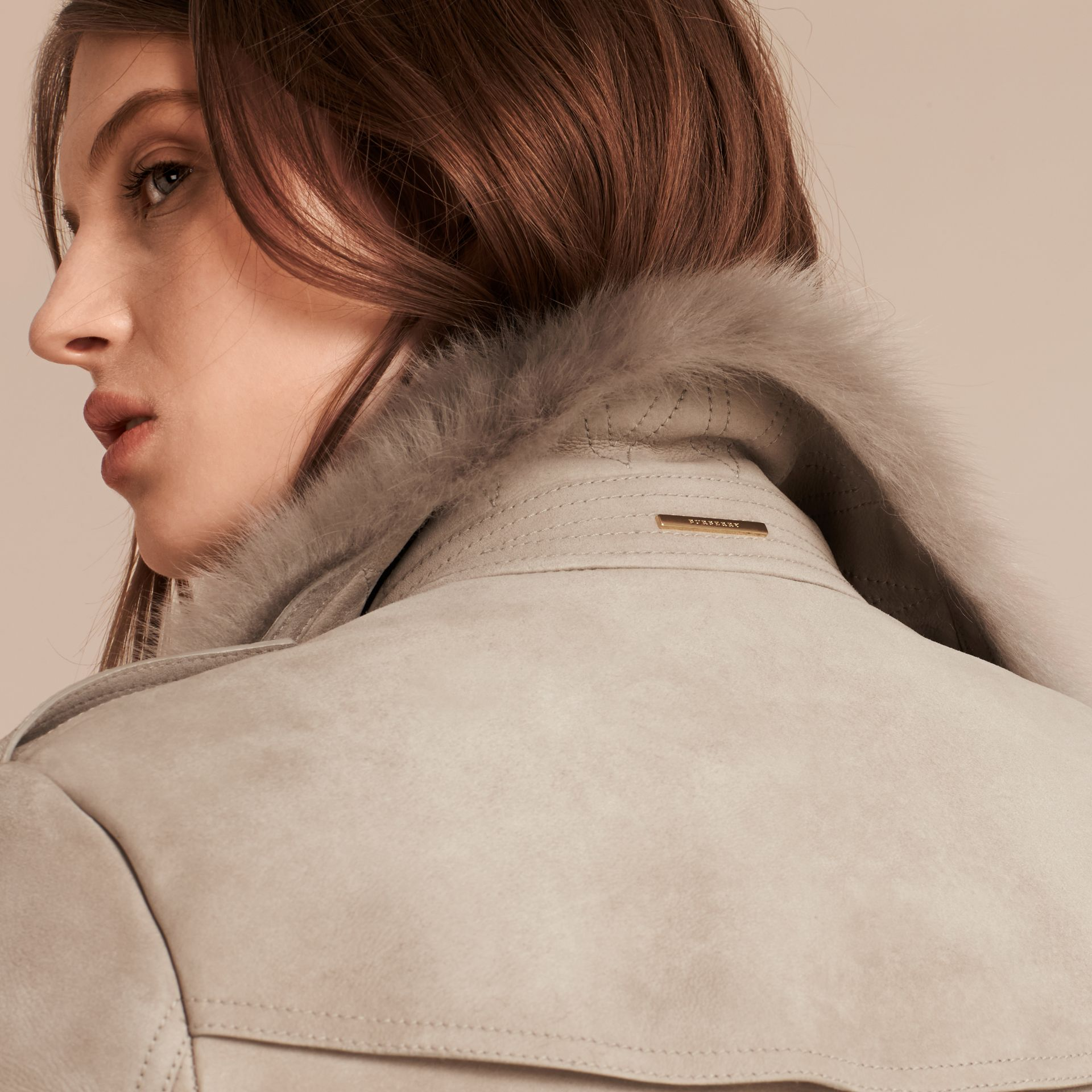 Pale grey Shearling Wrap Jacket - gallery image 6