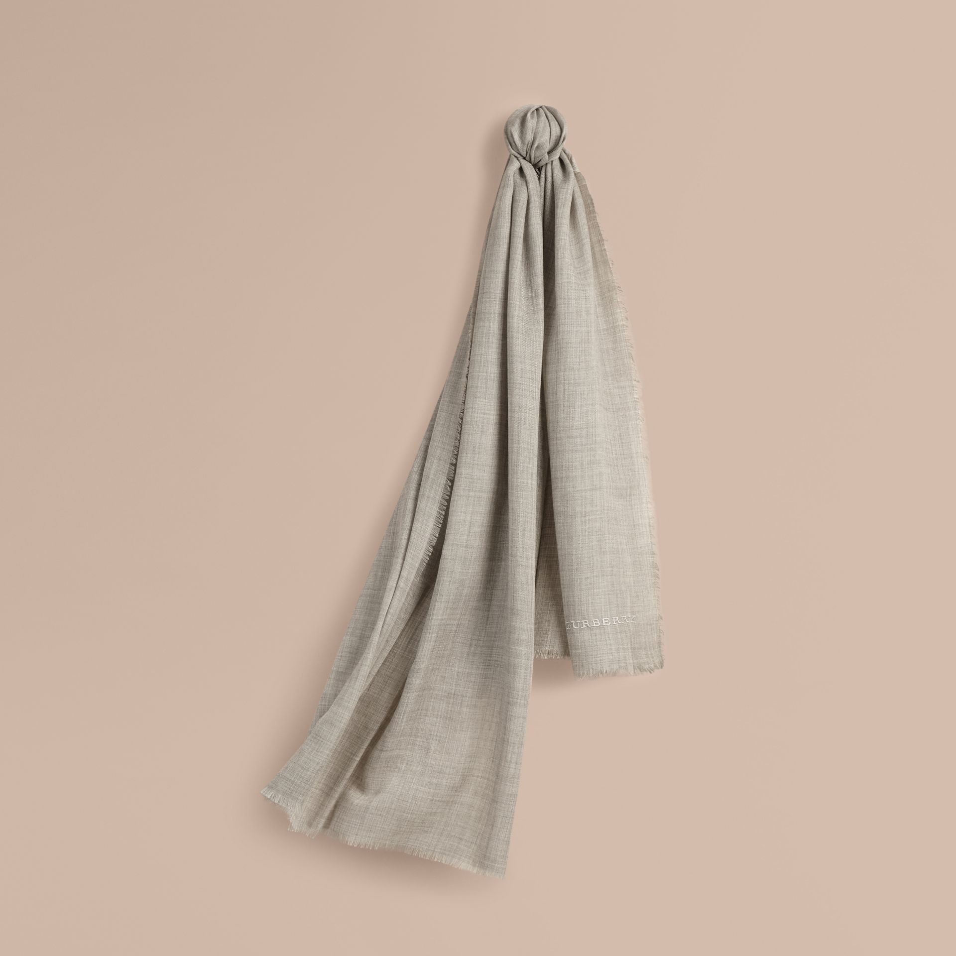 The Lightweight Cashmere Scarf in Pale Grey | Burberry - gallery image 6