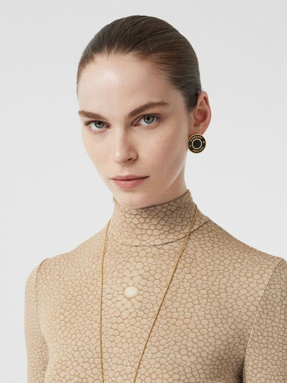Fish-scale Print Stretch Jersey Turtleneck Top in Light Sand - Women | Burberry - cell image 1