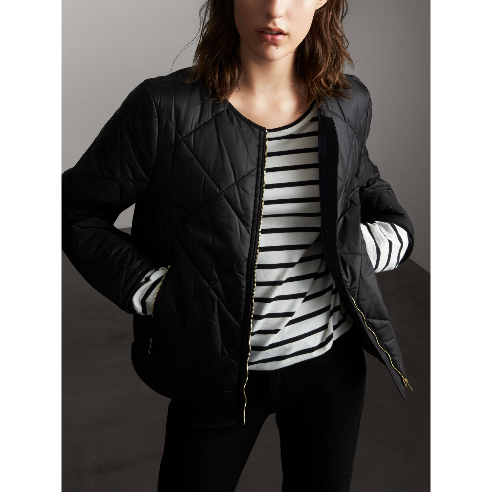 Collarless Diamond Quilted Lightweight Jacket in Black - Women | Burberry - gallery image 7