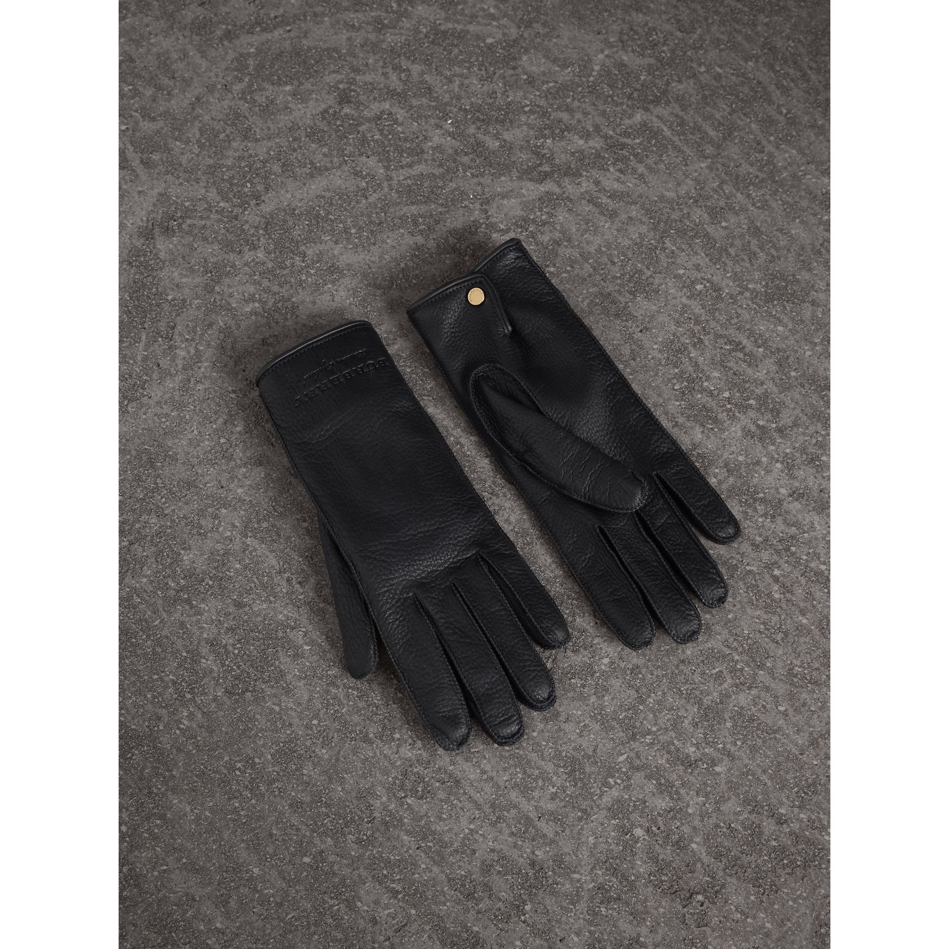 Deerskin Gloves in Black - Women | Burberry - gallery image 0