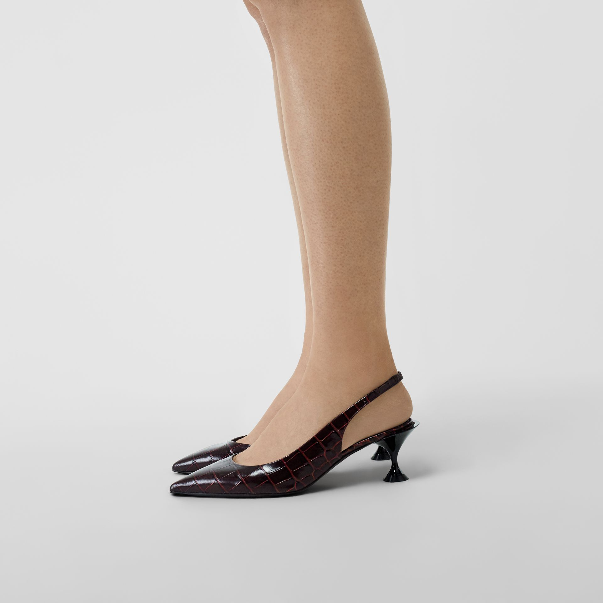 Embossed Leather Slingback Pumps in Bordeaux - Women | Burberry - gallery image 2