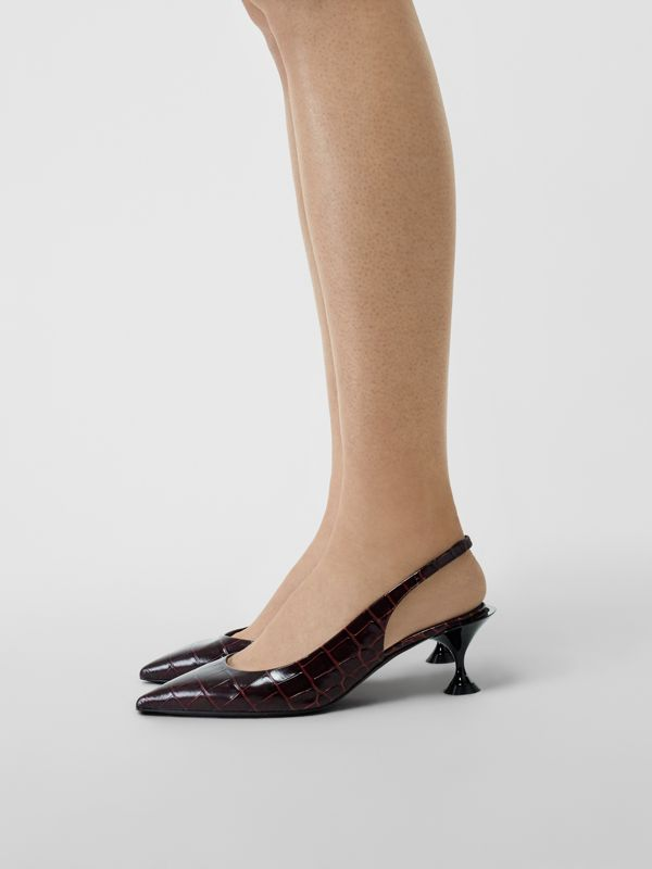 Embossed Leather Slingback Pumps in Bordeaux - Women | Burberry - cell image 2