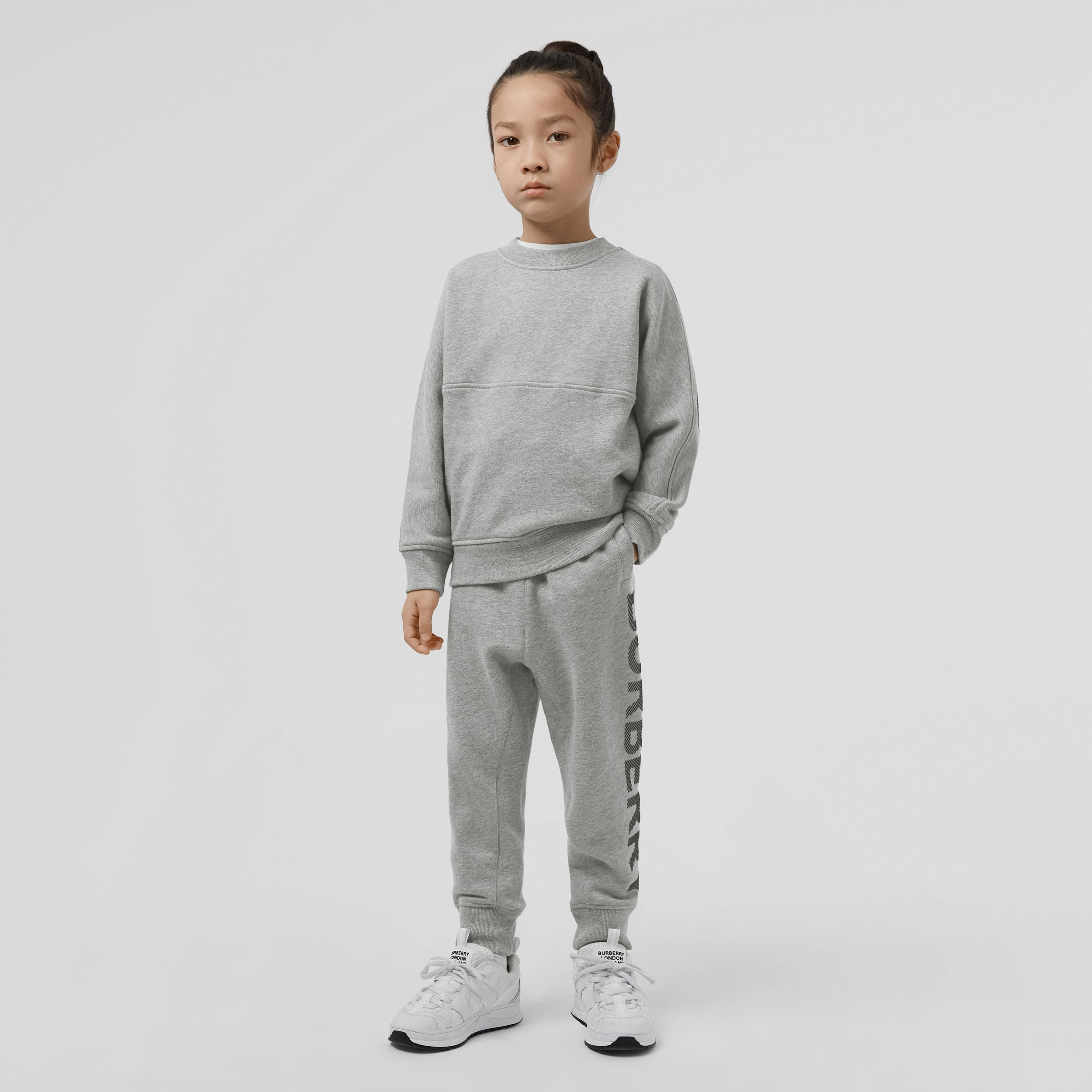 Logo Print Cotton Drawcord Jogging Pants in Grey Melange/black | Burberry - 3