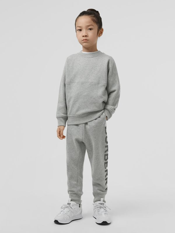 Logo Print Cotton Drawcord Trackpants in Grey Melange | Burberry United Kingdom - cell image 2
