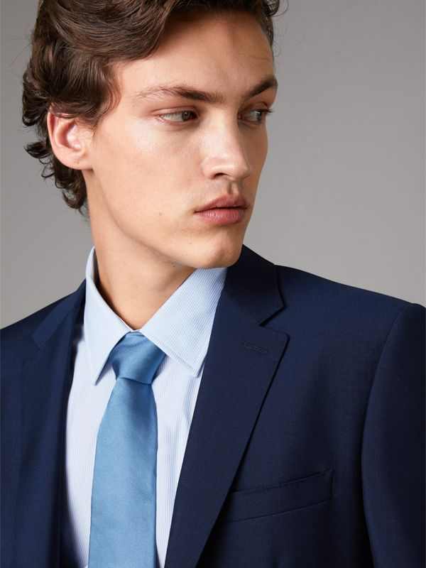 Slim Fit Wool Mohair Suit in Royal Navy - Men | Burberry - cell image 3