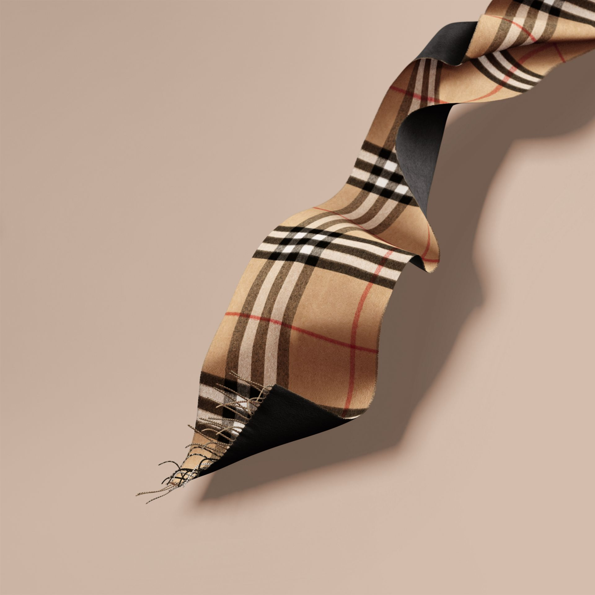 Reversible Check Cashmere and Block-colour Scarf in Camel/charcoal - gallery image 1