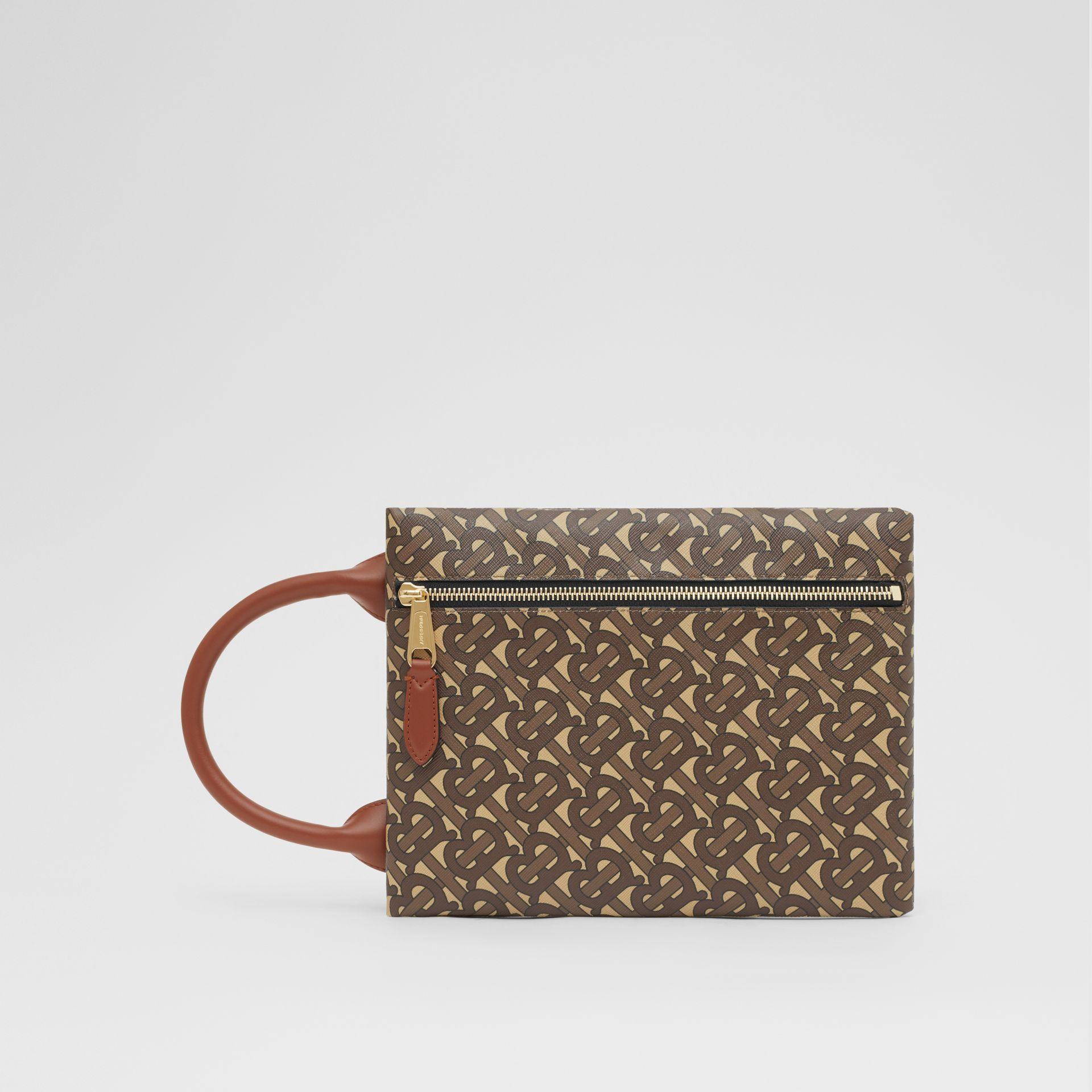 Monogram Print E-canvas Portrait Pouch in Bridle Brown - Men | Burberry - gallery image 1