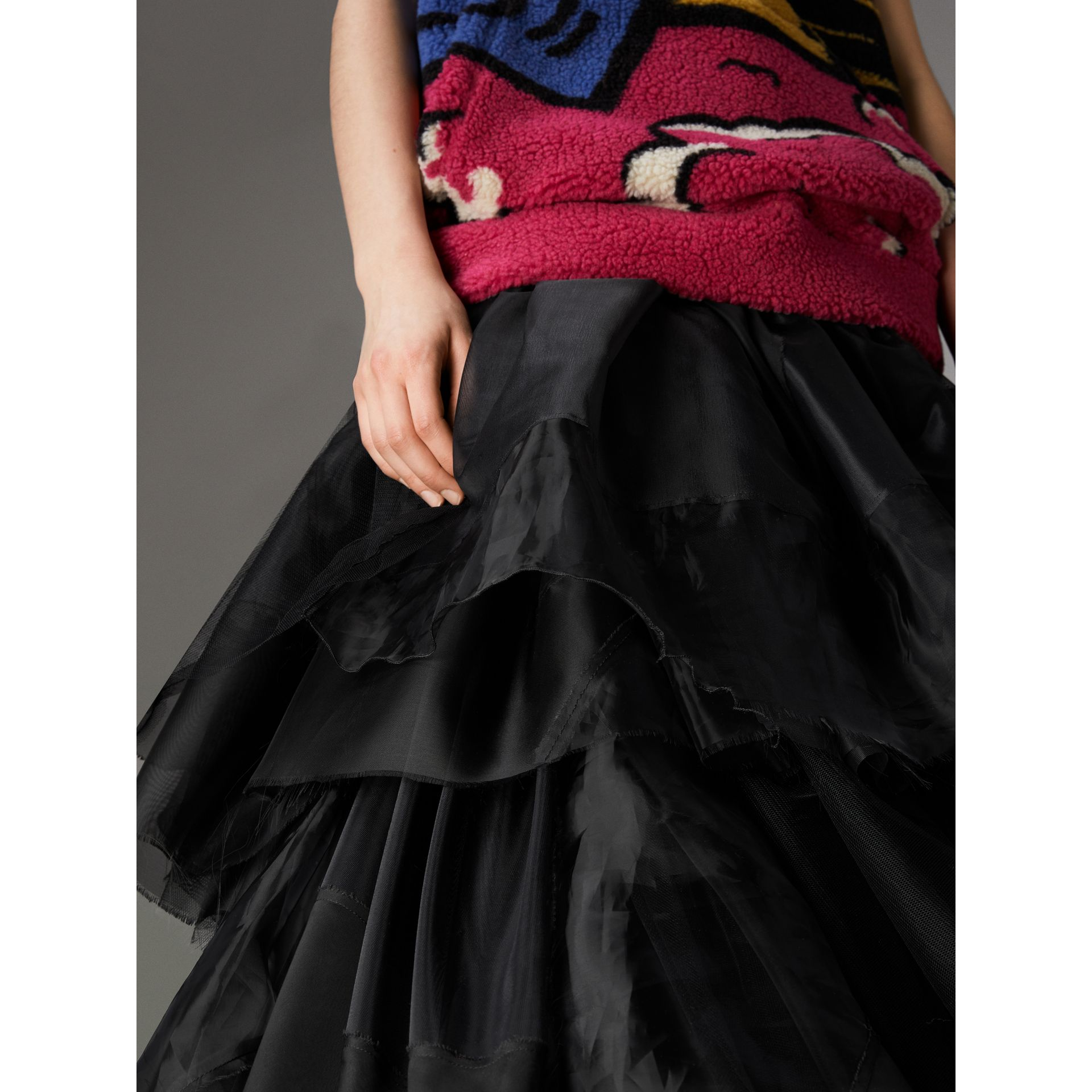 Organza and Tulle Tiered Maxi Skirt in Black - Women | Burberry Hong Kong - gallery image 1