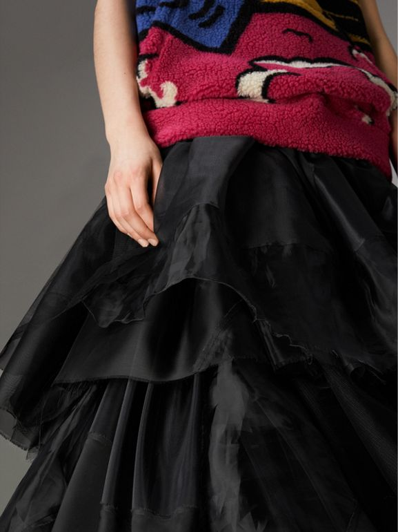 Organza and Tulle Tiered Maxi Skirt in Black - Women | Burberry Australia - cell image 1