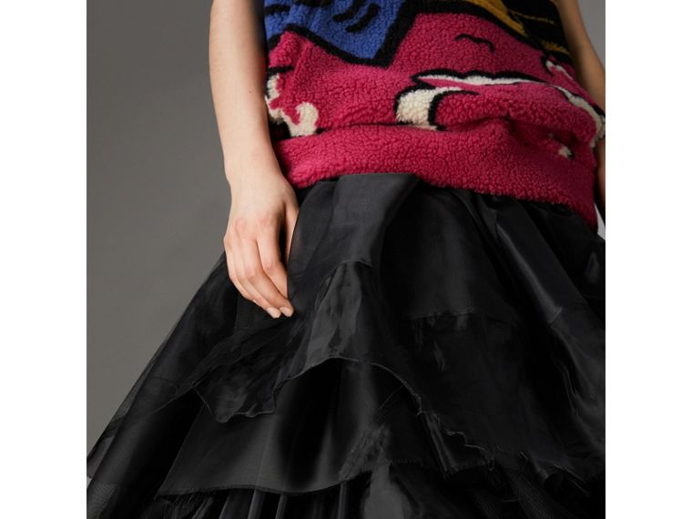 Organza and Tulle Tiered Maxi Skirt in Black - Women | Burberry - cell image 1
