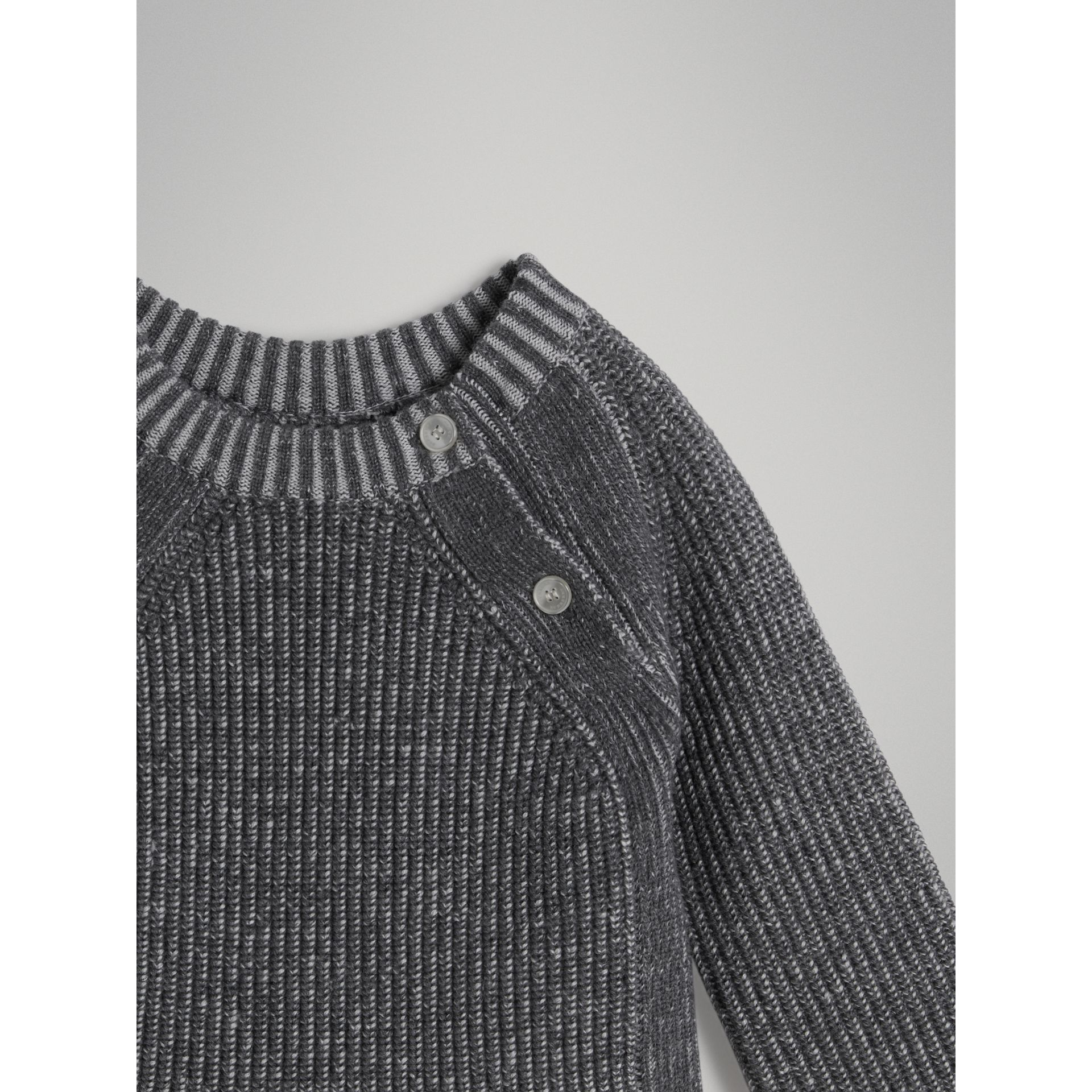 Rib Knit Merino Wool Sweater in Grey Melange | Burberry - gallery image 4