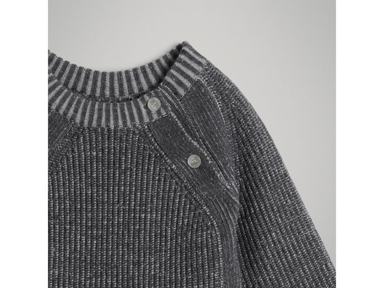 Rib Knit Merino Wool Sweater in Grey Melange | Burberry - cell image 4