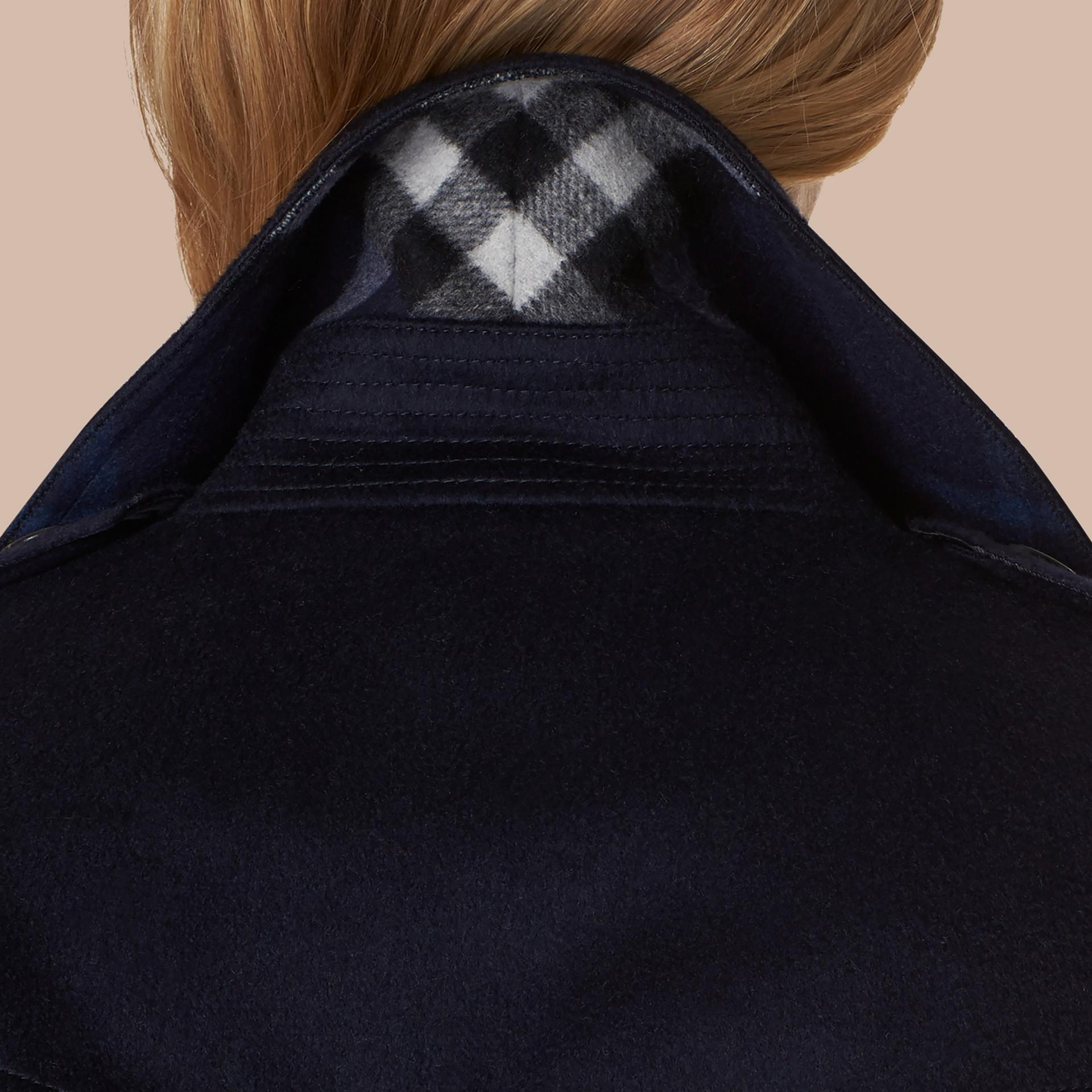 Indigo Sandringham Fit Cashmere Trench Coat Indigo - gallery image 5