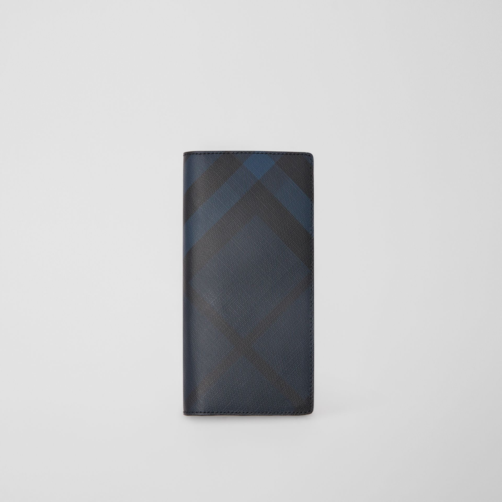 London Check and Leather Continental Wallet in Navy/black - Men | Burberry United Kingdom - gallery image 0