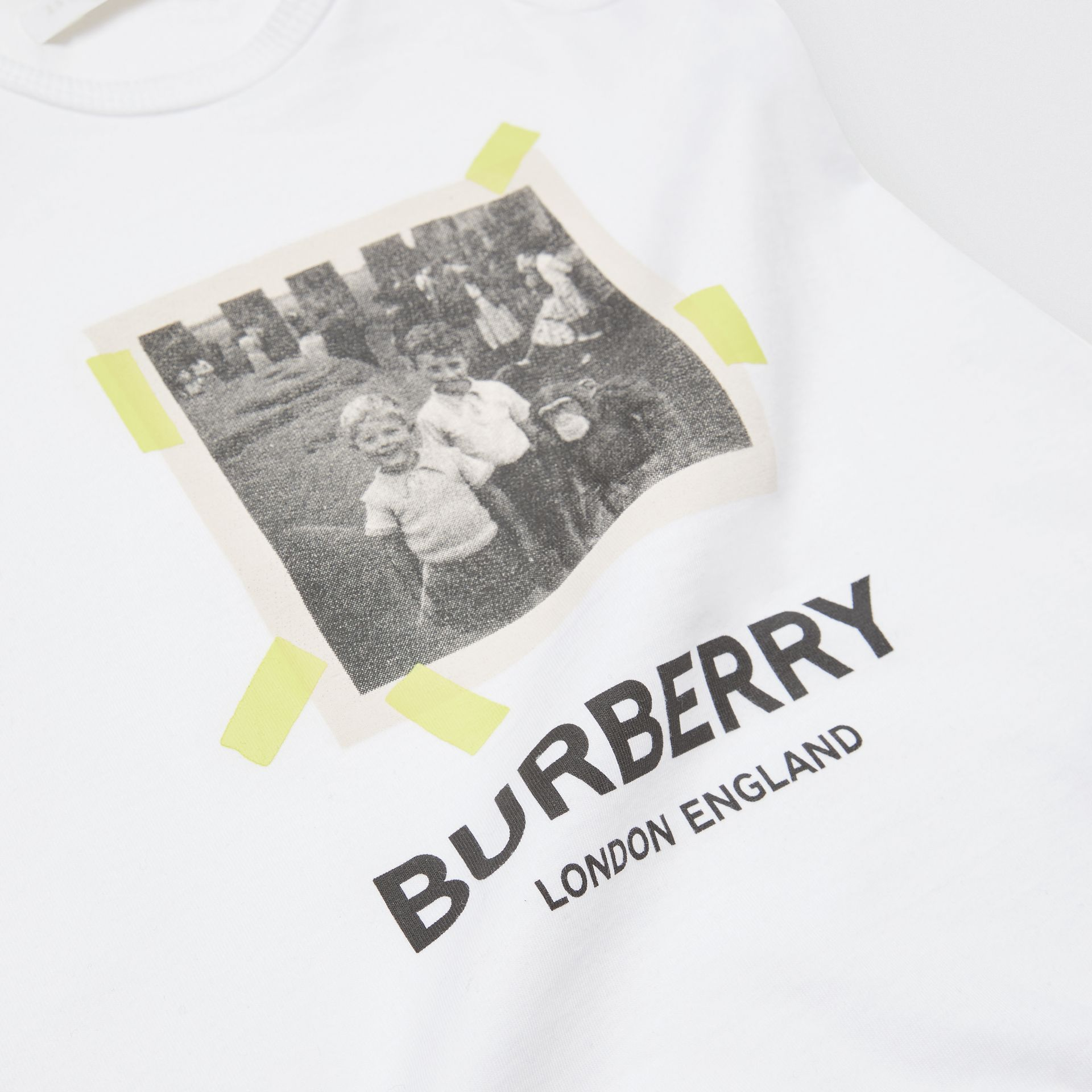 Vintage Photo Print Cotton Bodysuit in White - Children | Burberry - gallery image 1