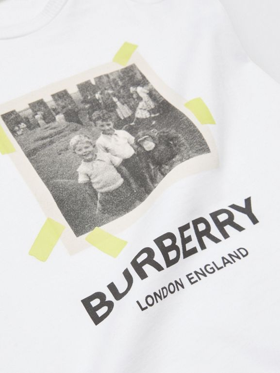 Vintage Photo Print Cotton Bodysuit in White - Children | Burberry - cell image 1
