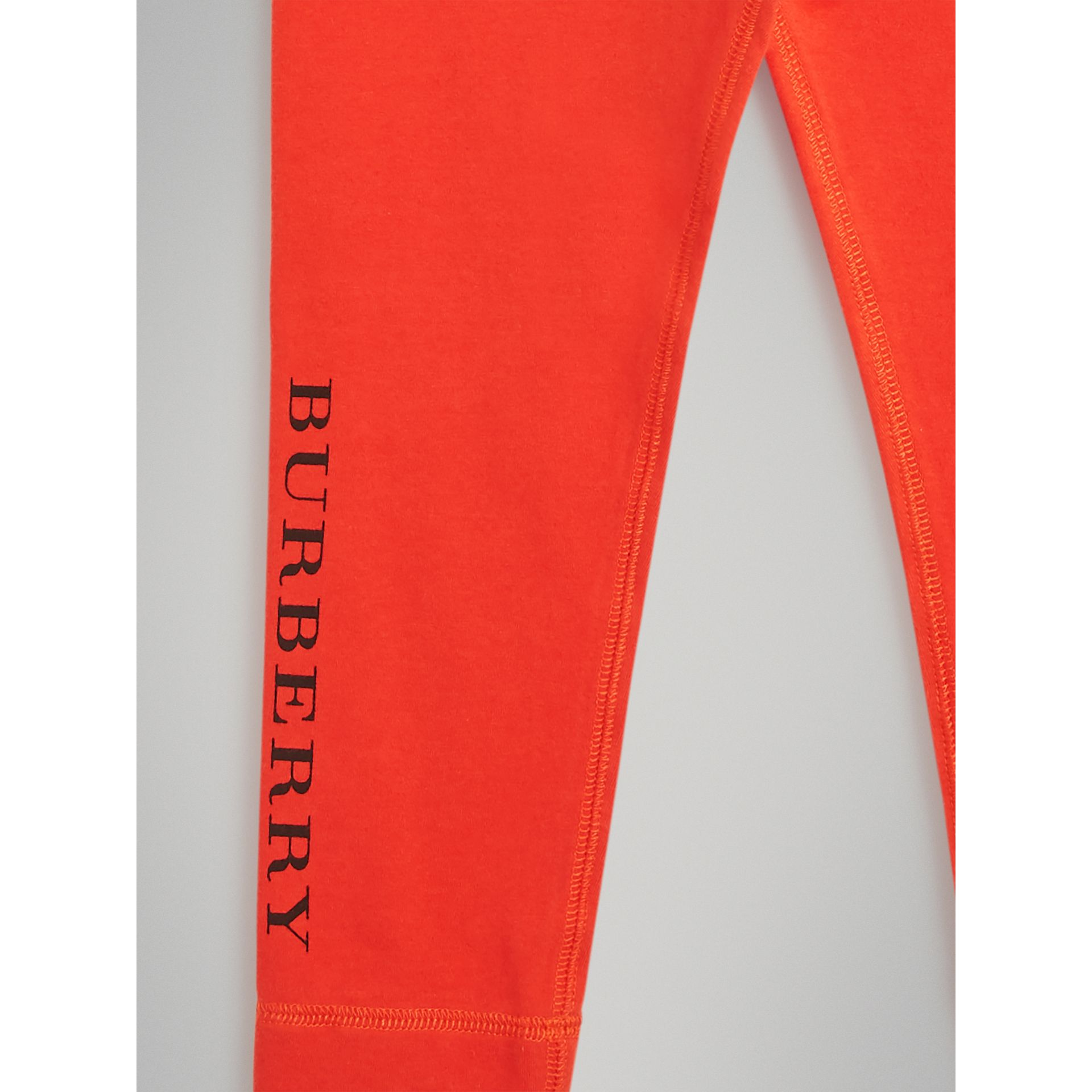 Logo Detail Stretch Cotton Leggings in Orange Red | Burberry Australia - gallery image 4