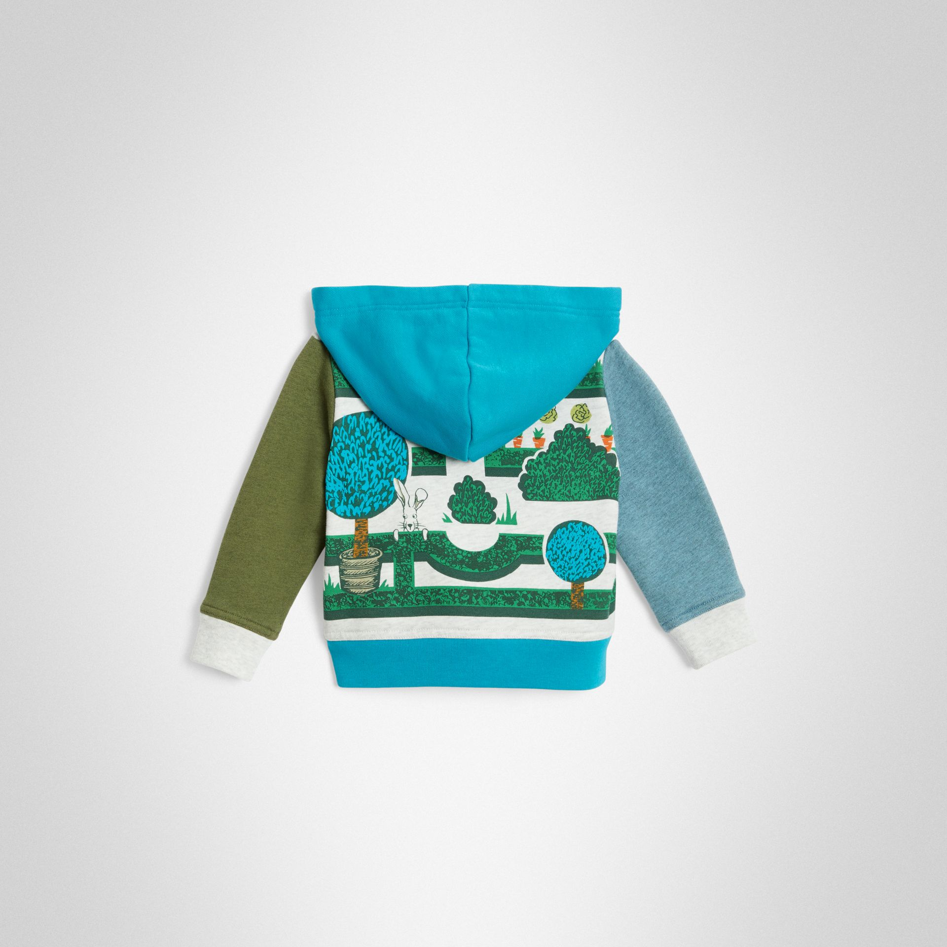 Hedge Maze Print Cotton Hooded Top in Multicolour - Children | Burberry United Kingdom - gallery image 3