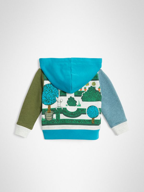 Hedge Maze Print Cotton Hooded Top in Multicolour - Children | Burberry United Kingdom - cell image 3
