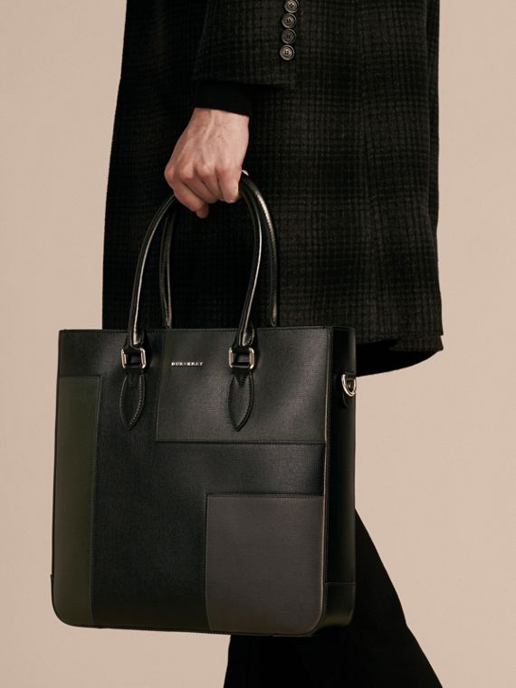 Black Patchwork London Leather Tote Bag - cell image 2