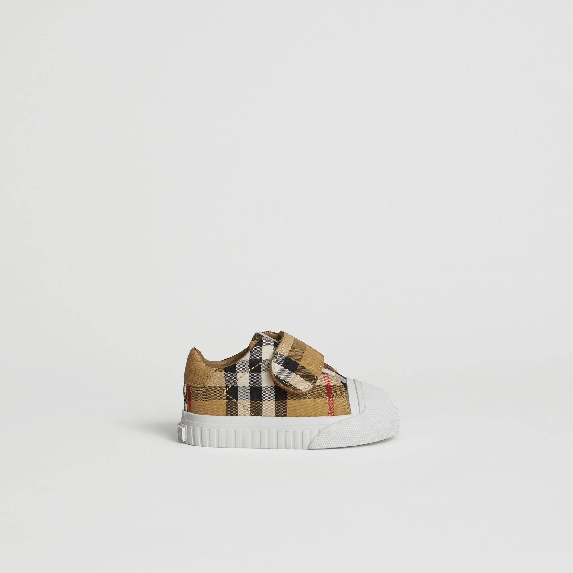 Vintage Check and Leather Sneakers in Antique Yellow/optic White - Children | Burberry United Kingdom - gallery image 3