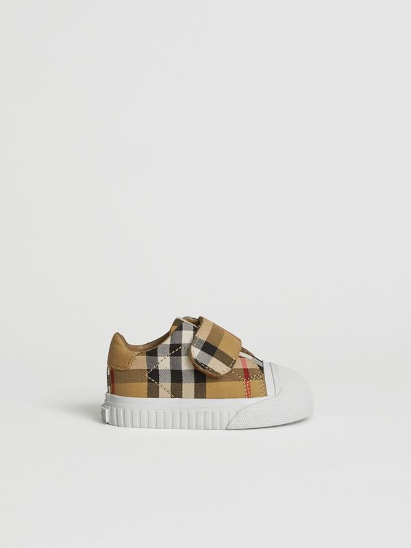 Vintage Check and Leather Sneakers in Antique Yellow/optic White - Children | Burberry Hong Kong - cell image 3