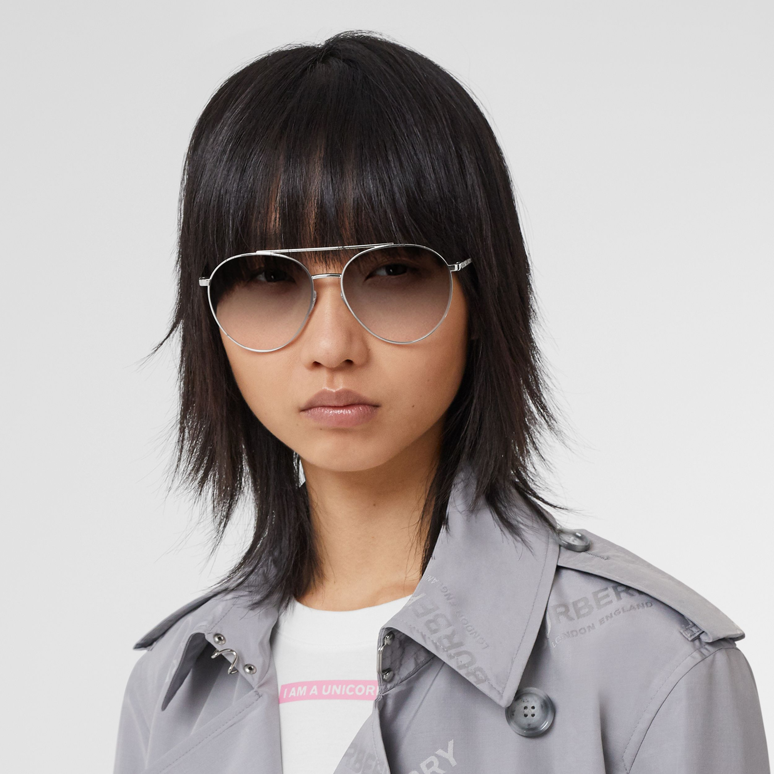 Pilot Sunglasses in Grey - Women | Burberry Australia - 3