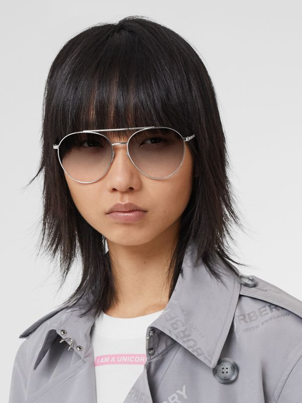 Pilot Sunglasses in Grey - Women | Burberry - cell image 2
