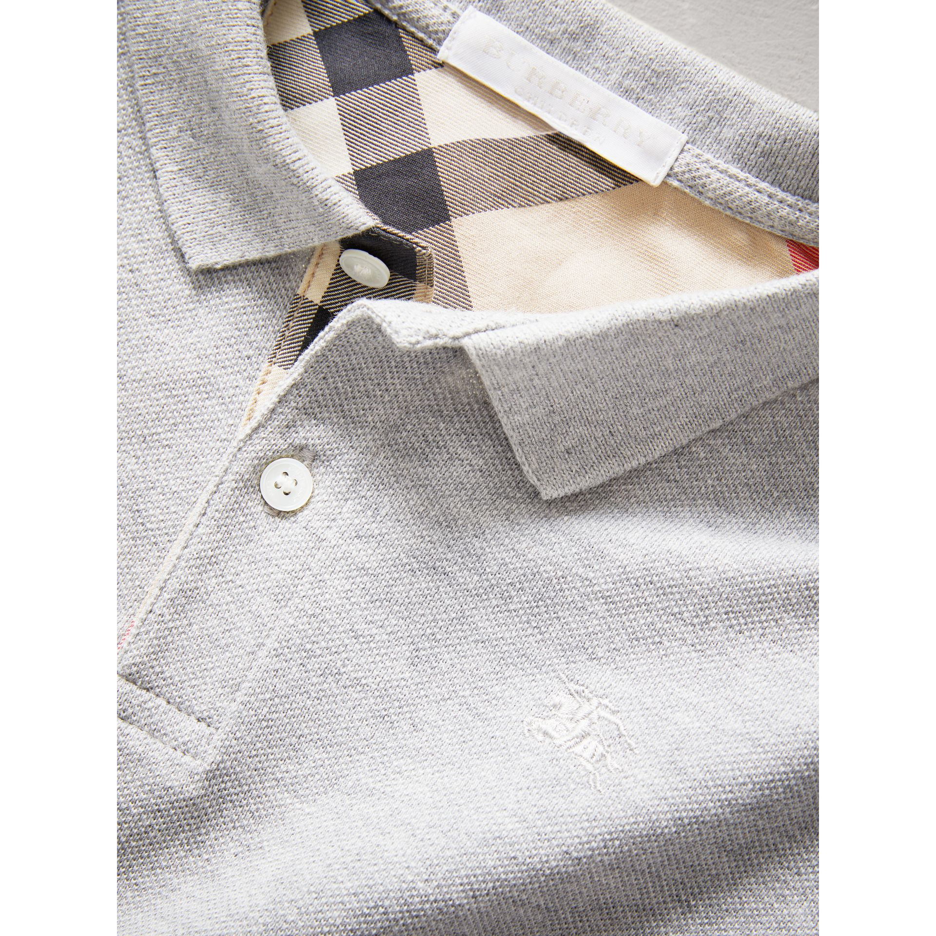 Check Placket Polo Shirt in Pale Grey Melange - Boy | Burberry - gallery image 1
