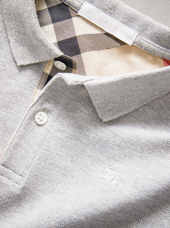 Check Placket Polo Shirt in Pale Grey Melange - Boy | Burberry United Kingdom - cell image 1