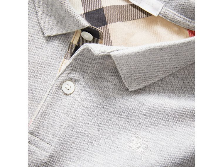 Check Placket Polo Shirt in Pale Grey Melange - Boy | Burberry United States - cell image 1