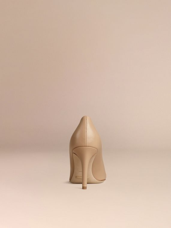 Horseferry Check Leather Pumps in Light Nude - Women | Burberry - cell image 3
