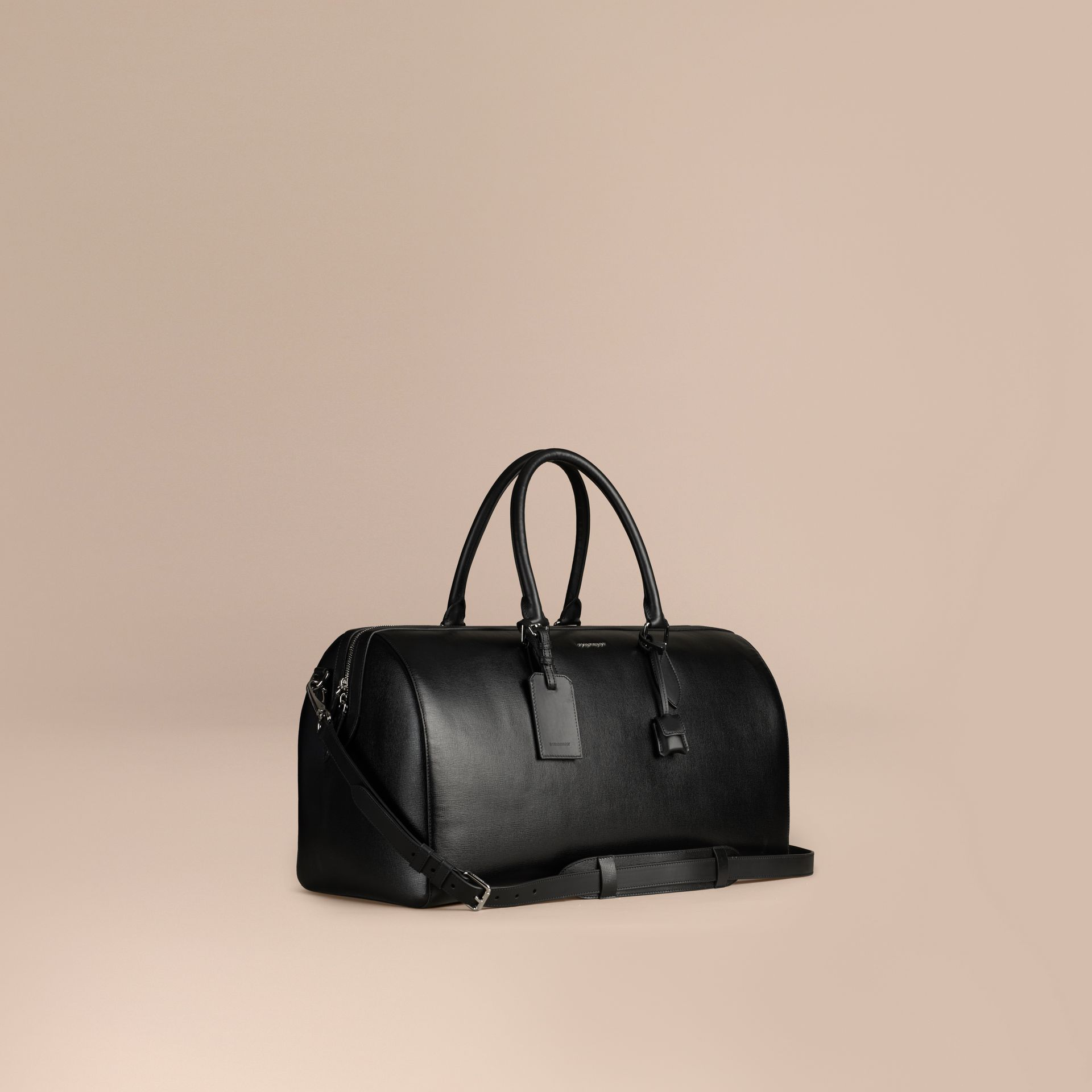 London Leather Holdall in Black | Burberry Canada - gallery image 1