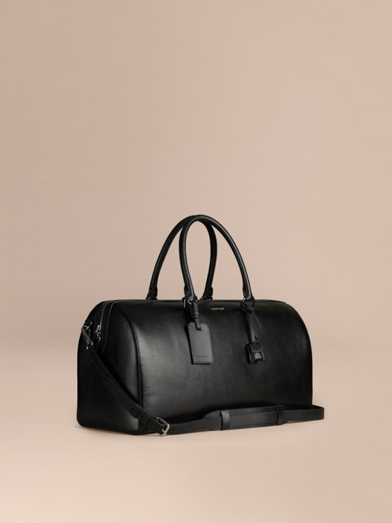 London Leather Holdall in Black | Burberry Australia