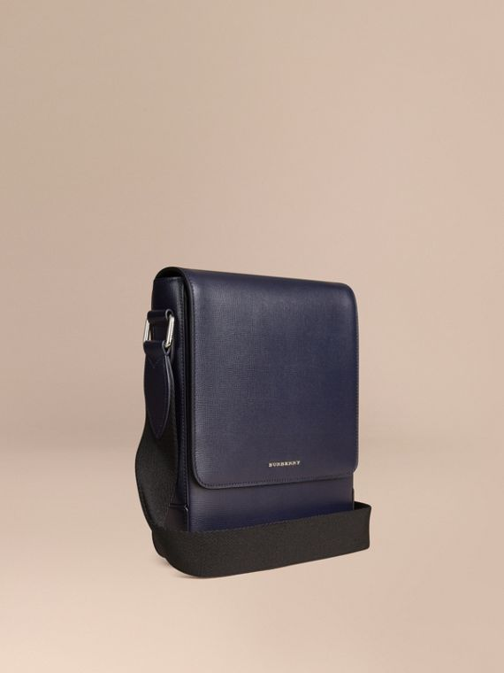 Borsa a tracolla in pelle London Navy Scuro