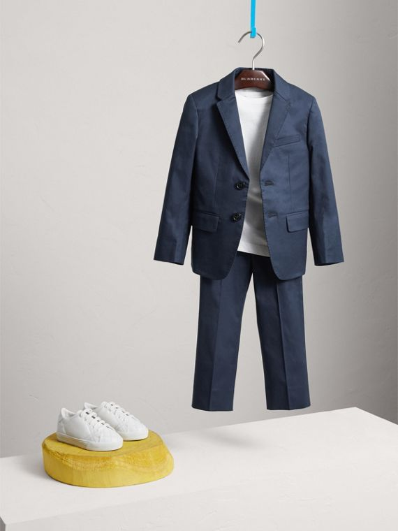 Tailored Stretch Cotton Blazer in Navy - Boy | Burberry - cell image 2