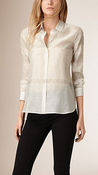Tonal Check Cotton Silk Shirt