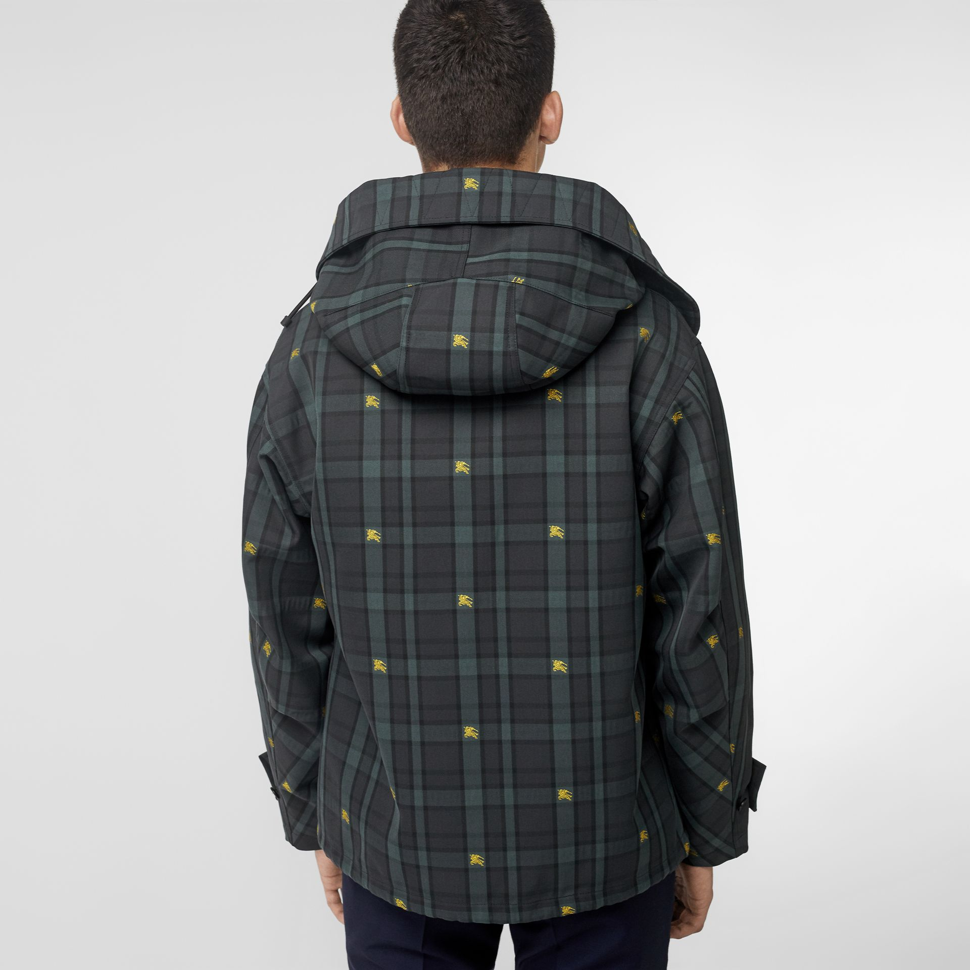Equestrian Knight Check Nylon Hooded Jacket in Dark Cyan - Men | Burberry United Kingdom - gallery image 2