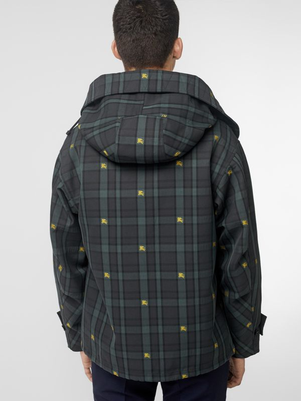 Equestrian Knight Check Nylon Hooded Jacket in Dark Cyan - Men | Burberry - cell image 2