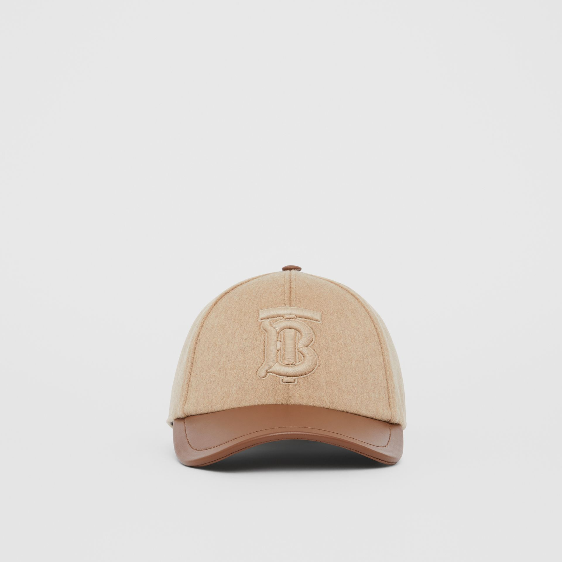 Monogram Motif Cashmere and Leather Baseball Cap in Camel | Burberry Hong Kong S.A.R - gallery image 2