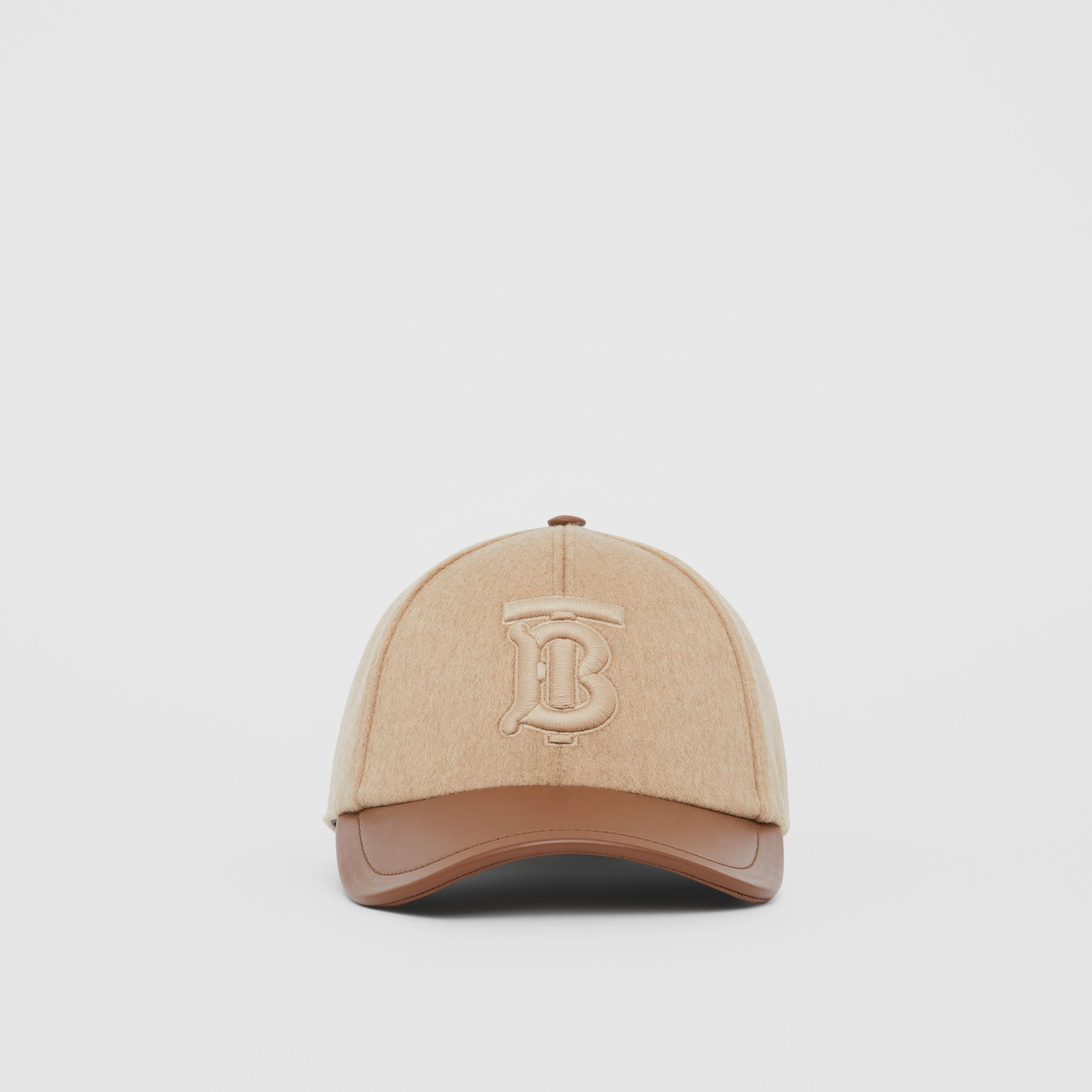 Monogram Motif Cashmere and Leather Baseball Cap in Camel | Burberry - 1