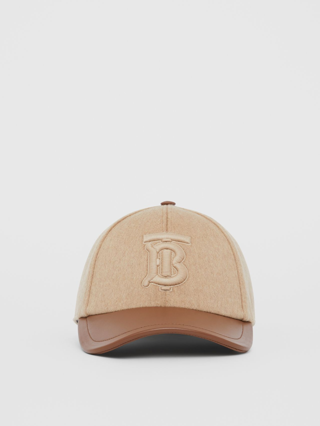Monogram Motif Cashmere and Leather Baseball Cap in Camel