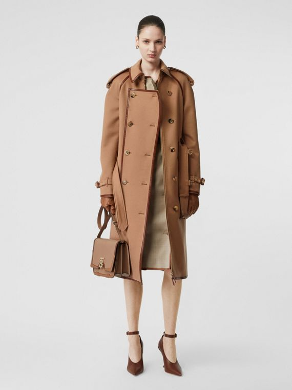 Button Panel Detail Wool Cashmere Trench Coat in Camel