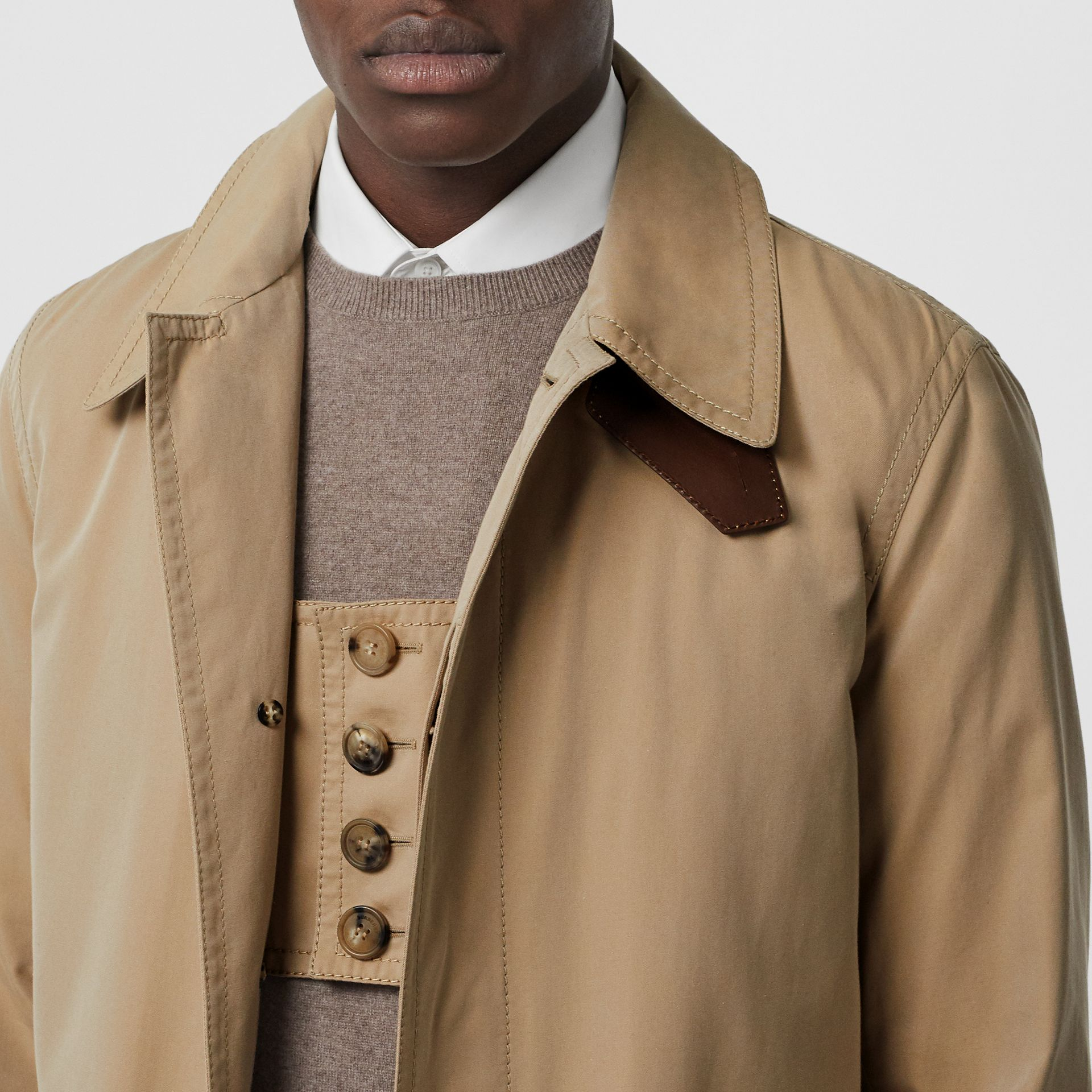 Leather Detail Cotton Gabardine Car Coat in Honey | Burberry - gallery image 7