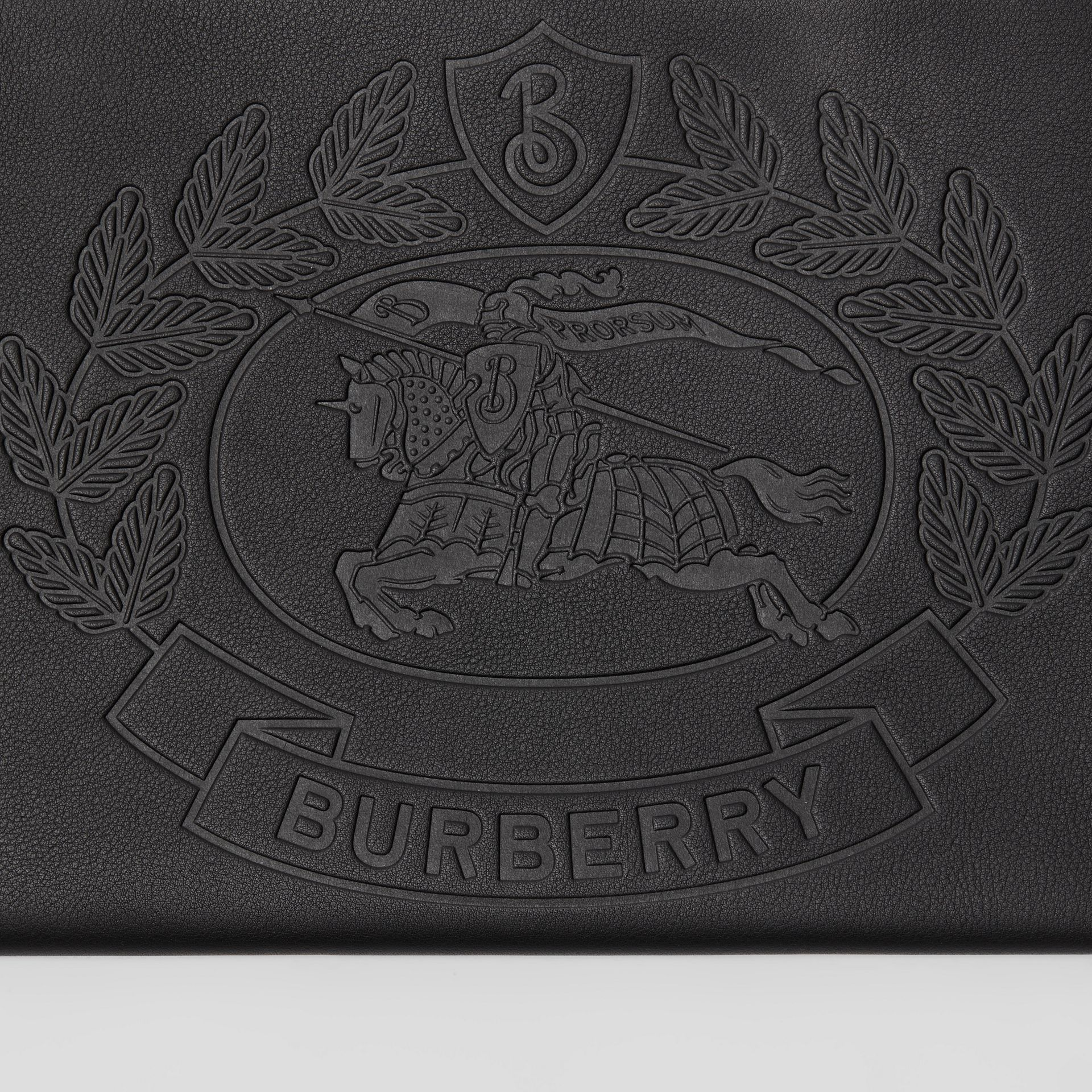 Embossed Crest Leather Zip Pouch in Black - Men | Burberry - gallery image 1